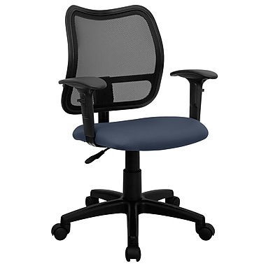 Flash Furniture WLA277NVYA Fabric Mid-Back Task Chair with Adjustable Arms, Black/Navy Blue