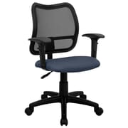 Flash Furniture Mid-Back Curved Mesh Task Chair with Fabric Seat and Arms, Navy Blue