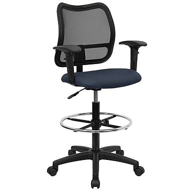 Flash Furniture Mid-Back Mesh Drafting Stool With Fabric Seat and Arms, Navy Blue