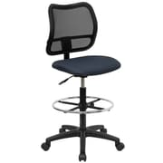 Flash Furniture Mid-Back Curved Mesh Drafting Stool with Fabric Seat, Navy Blue