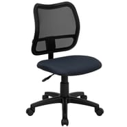Flash Furniture Mid-Back Mesh Task Chair with Navy Blue Fabric Seat, Navy Blue
