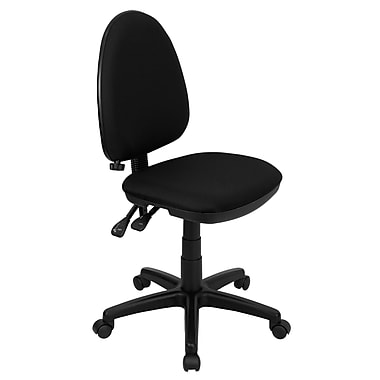 Flash Furniture Mid-Back Fabric Multi-Functional Task Chair with Adjustable Lumbar Support, Black