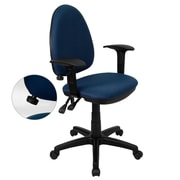 Flash Furniture Mid-Back Fabric Multi-Functional Task Chair with Arms and Adjustable Lumbar Support, Navy Blue