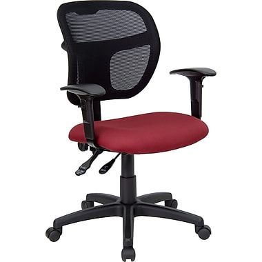 Flash Furniture Mesh Task Chair With Fabric Seat and Arms, Burgundy