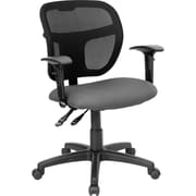 Flash Furniture Mid-Back Multi-Functional Mesh Task Chair with Fabric Seat and Arms, Gray