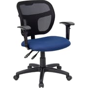Flash Furniture Mid-Back Multi-Functional Mesh Task Chair with Fabric Seat and Arms, Navy Blue