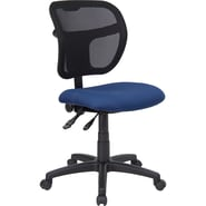 Flash Furniture Mid-Back Mesh Task Chair with Fabric Seat, Navy Blue
