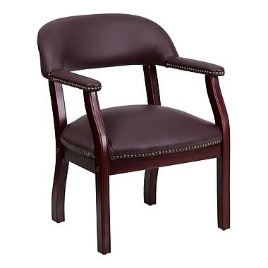 Flash Furniture 31 1/4in.(H) Leather Conference Chair With Casters, Burgundy