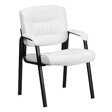 Flash Furniture Leather Guest / Reception Chair with Black Frame Finish, White