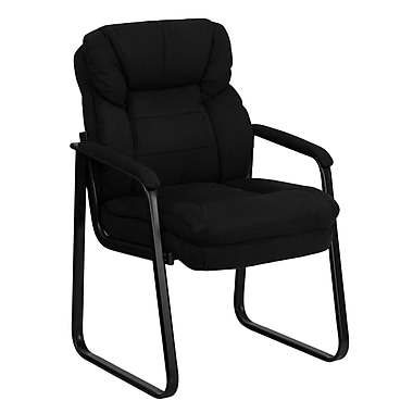Flash Furniture Microfiber Executive Side Chair With Sled Base, Black