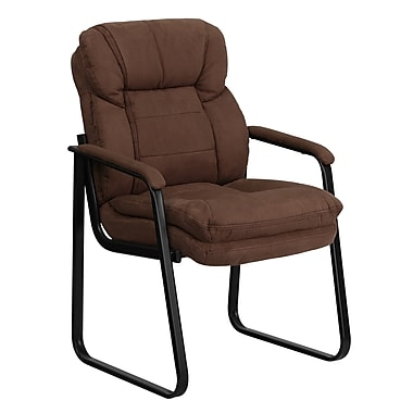 Flash Furniture Microfiber Executive Side Chair With Sled Base, Brown