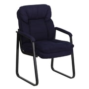 Flash Furniture Microfiber Executive Side Chair With Sled Base, Navy