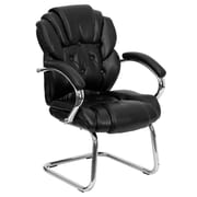 Flash Furniture Leather Transitional Side Chair with Padded Arms and Sled Base, Black