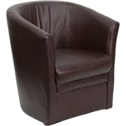 Flash Furniture Leather Barrel-Shaped Guest Chair with Full Panel, Brown