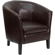 Flash Furniture Leather Barrel-Shaped Guest Chair with High Legs, Brown