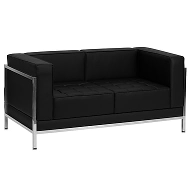 Flash Furniture HERCULES Imagination Series Contemporary Leather Love Seat with Encasing Frame, Black