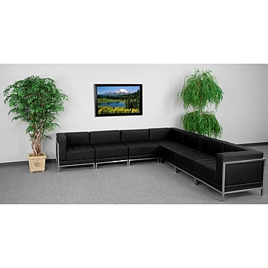 Flash Furniture HERCULES Imagination Series Sectional Configuration Set 1 with 4 Middle Chairs, Black