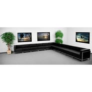 Flash Furniture HERCULES Imagination Leather Sectional Configuration Set 2 W/8 Middle Chairs, Black
