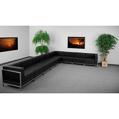 Flash Furniture HERCULES Imagination Series Sectional Configuration Set 4 with 8 Middle Chairs, Black