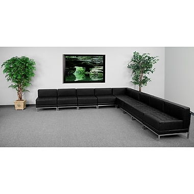 Flash Furniture HERCULES Imagination Series Sectional Configuration Set 7 with 8 Middle Chairs, Black