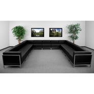 Flash Furniture HERCULES Imagination U-Shape Sectional Configuration With 9 Middle Chairs, Black