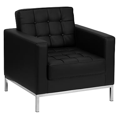 Flash Furniture HERCULES Lacey Contemporary Leather Chair With Stainless Steel Frame, Black