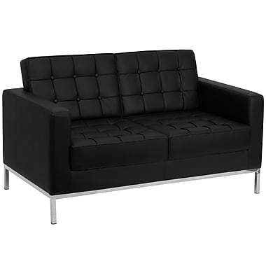 Flash Furniture HERCULES Lacey Series Contemporary Leather Love Seat with Stainless Steel Frame, Black