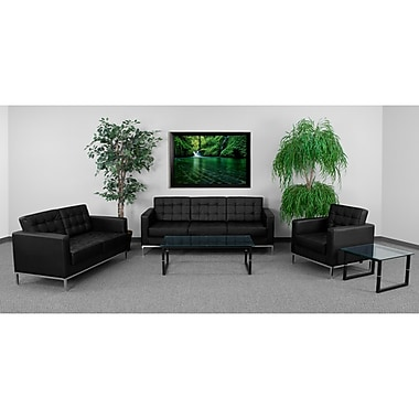 Flash Furniture Hercules Lacey Stainless Steel Reception Set, Black (ZBLACE8312SETBK)