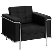 Flash Furniture HERCULES Lesley Series Contemporary Leather Chair with Encasing Frame, Black