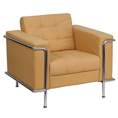 Flash Furniture HERCULES Lesley Contemporary Leather Chair With Encasing Frame, Light Brown