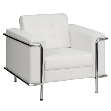 Flash Furniture HERCULES Lesley Series Contemporary Leather Chair with Encasing Frame, White