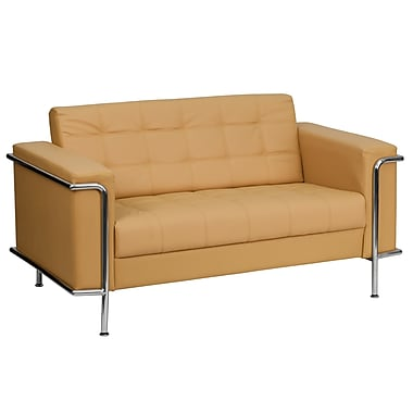 Flash Furniture HERCULES Lesley Series Contemporary Leather Love Seat with Encasing Frame, Light Brown