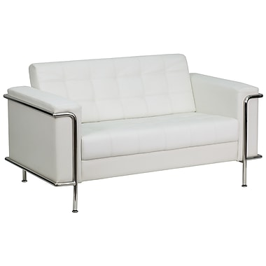 Flash Furniture HERCULES Lesley Series Contemporary Leather Love Seat with Encasing Frame, White