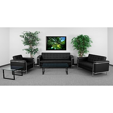 Flash Furniture HERCULES Lesley Series Contemporary Leather Love Seat with Encasing Frame, Black (ZBLES8090SETBK)