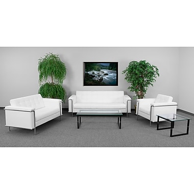 Flash Furniture Hercules Lesley Stainless Steel Reception Set, White (ZBLES8090SETWH)