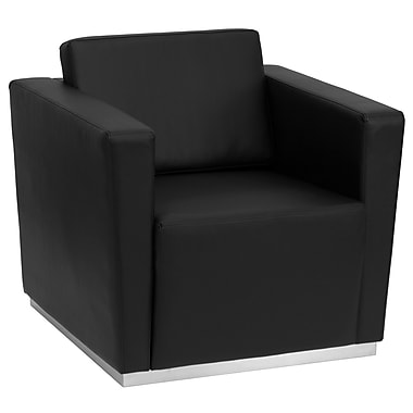 Flash Furniture HERCULES Trinity Contemporary Leather Chair With Stainless Steel Base, Black