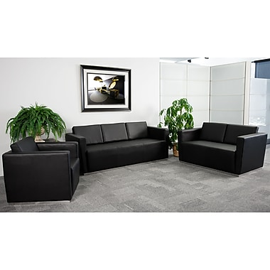 Flash Furniture HERCULES Trinity LeatherSoft Reception Set, Black