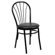 Flash Furniture HERCULES Series Fan Back Metal Chair, Black Vinyl Seat, 16/Pack