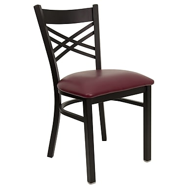 Flash Furniture HERCULES Series Black in.Xin. Back Metal Restaurant Chair, Burgundy Vinyl Seat, 4/Pack