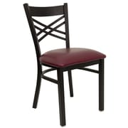 Flash Furniture HERCULES Series Black X Back Metal Restaurant Chair, Burgundy Vinyl Seat, 4/Pack
