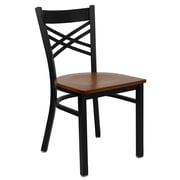 "Flash Furniture HERCULES Series Black ""X"" Back Metal Restaurant Chair, Cherry Wood Seat, 4/Pack"