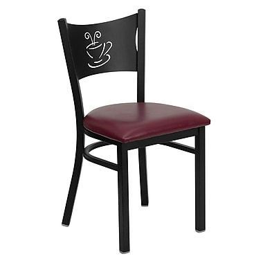 Flash Furniture HERCULES Series Black Coffee Back Metal Restaurant Chair, Burgundy Vinyl Seat, 24/Pack