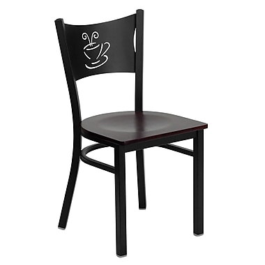 Flash Furniture HERCULES Series Black Coffee Back Metal Restaurant Chair, Mahogany Wood Seat, 4/Pack