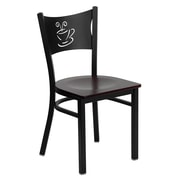 Flash Furniture HERCULES Series Black Coffee Back Metal Restaurant Chair, Mahogany Wood Seat, 24/Pack