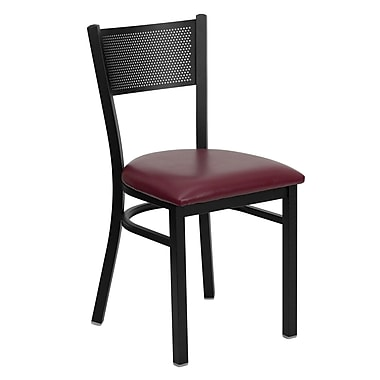 Flash Furniture HERCULES Series Black Grid Back Metal Restaurant Chair, Burgundy Vinyl Seat, 4/Pack