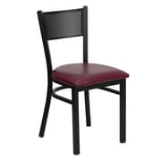 Flash Furniture HERCULES Series Black Grid Back Metal Restaurant Chair, Burgundy Vinyl Seat, 24/Pack