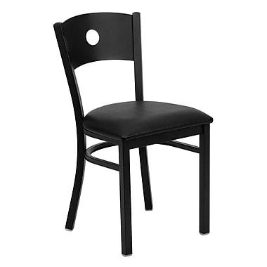 Flash Furniture – Chaise de restaurant en métal à dossier ajouré, noir, siège en vinyle noir (XUDG6019CIRBLKV)