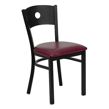 Flash Furniture – Chaise de restaurant en métal à dossier ajouré, noir, siège en vinyle bourgogne (XUDG6019CIRBURV)