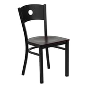 Flash Furniture HERCULES Series Black Circle Back Metal Restaurant Chair, Mahogany Wood Seat, 24/Pack