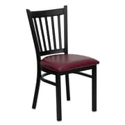 Flash Furniture HERCULES Series Black Vertical Back Metal Restaurant Chair, Burgundy Vinyl Seat, 4/Pack